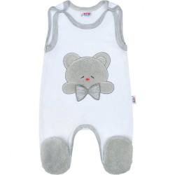 Luxusné dojčenské dupačky New Baby Honey Bear s 3D aplikáciou biela