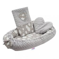 Luxusné hniezdočko s vankúšikom a perinkou New Baby Srdiečko Obláčik biela