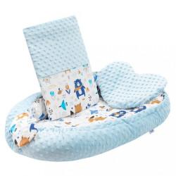 Luxusné hniezdočko s vankúšikom a perinkou New Baby z Minky modré