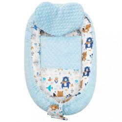 Luxusné hniezdočko s vankúšikom a perinkou New Baby z Minky modré #1