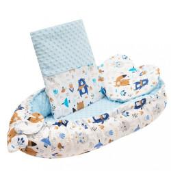 Luxusné hniezdočko s vankúšikom a perinkou New Baby z Minky modré #2