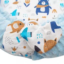 Luxusné hniezdočko s vankúšikom a perinkou New Baby z Minky modré #4