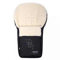 Luxusný fusak s ovčím rúnom New Baby černý Čierna
