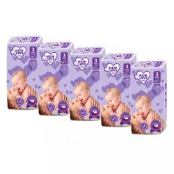 MEGAPACK Detské jednorázové plienky New Love Premium comfort 3 MIDI 4-9 kg 5x48 ks biela