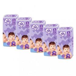 MEGAPACK Detské jednorázové plienky New Love Premium comfort 5 JUNIOR 11-25 kg 5x38 ks biela
