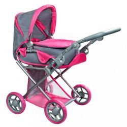 Multifunkčný kočík pre bábiky PlayTo Elsa sivo-ružový