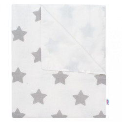 Nepremokavá flanelová podložka New Baby hviezdičky biela