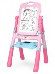 Obojstranná edukačná tabuľa Toyz pink ružová