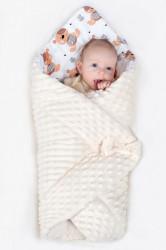 Obojstranná Zavinovačka z Minky New Baby 75x75 cm teddy sivá modré hviezdičky tyrkysové #2
