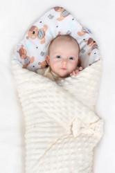 Obojstranná Zavinovačka z Minky New Baby 75x75 cm teddy sivá modré hviezdičky tyrkysové #4