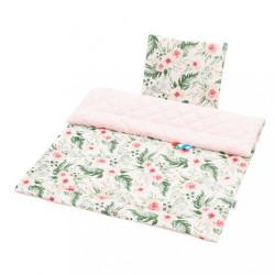 Obojstranný Set z Velvet do kočíka New Baby kvety ružový