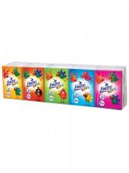 Papierové vreckovky Linteo Kids mini 10x10ks biele 3-vrstvové podľa obrázku