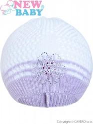 Pletená čiapočka New Baby kytička fialová