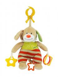 Plyšová hračka s hracím strojčekom Baby Mix Psík s kapucňou béžový Červená