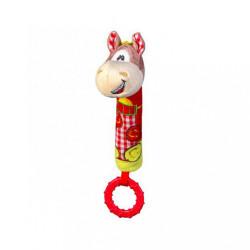 Plyšová pískací hračka s kousátkem Baby Ono koník Červená