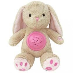 Plyšový zaspávačik zajačik s projektorom Baby Mix ružový
