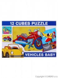 Skladacie obrázkové kocky 12 ks dopravné prostriedky podľa obrázku