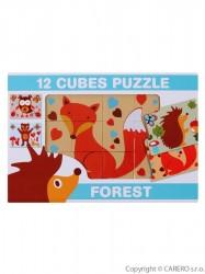 Skladacie obrázkové kocky 12 ks lesné zvieratá podľa obrázku