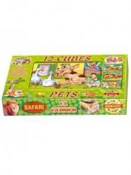 Skladacie obrázkové kocky 12 ks maznáčikovia zelená