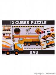 Skladacie obrázkové kocky 12 ks stavebné stroje podľa obrázku