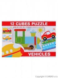Skladacie obrázkové kocky 12 ks vozidla podľa obrázku