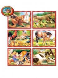 Skladacie obrázkové kocky 12 ks zvieratká z farmy modrá