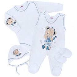 Súpravička 4-dielna New Baby Medvedík Play biela