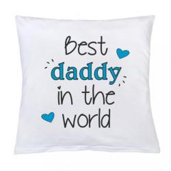 Vankúš s potlačou New Baby Best daddy 40x40 cm biela