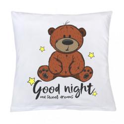 Vankúš s potlačou New Baby Good night 40x40 cm biela