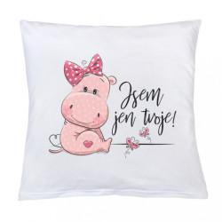 Vankúš s potlačou New Baby Jsem jen tvoje! 40x40 cm ružový biela