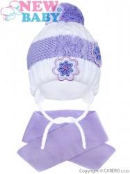 Zimná detská čiapočka so šálom New Baby kvietočky