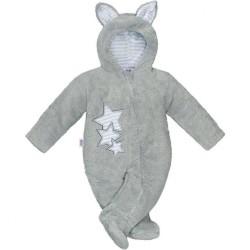 Zimná detská kombinéza New Baby Ušiačik šedá sivá