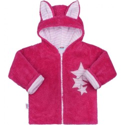 ffb8fe095642 Zimná detská mikina New Baby Ušiačik tmavo ružová
