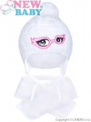 Zimná detská pletená čiapočka so šálom New Baby biela
