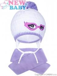 Zimná detská pletená čiapočka so šálom New Baby fialová