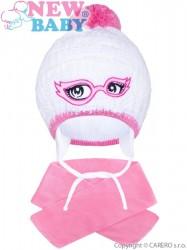 Zimná detská pletená čiapočka so šálom New Baby ružová