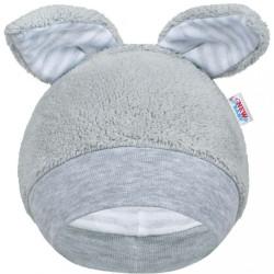 Zimná dojčenská čiapočka New Baby Ušiačik sivá