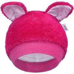 Zimná dojčenská čiapočka New Baby Ušiačik tmavo ružová