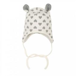 Zimná dojčenská čiapočka s uškami Baby Service Srdiečka smotanová