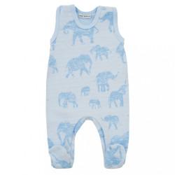 Zimné dojčenské dupačky Baby Service Slony sivé modrá