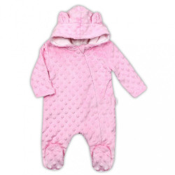 Zimný dojčenský overal z Minky Nicol Bubbles ružový