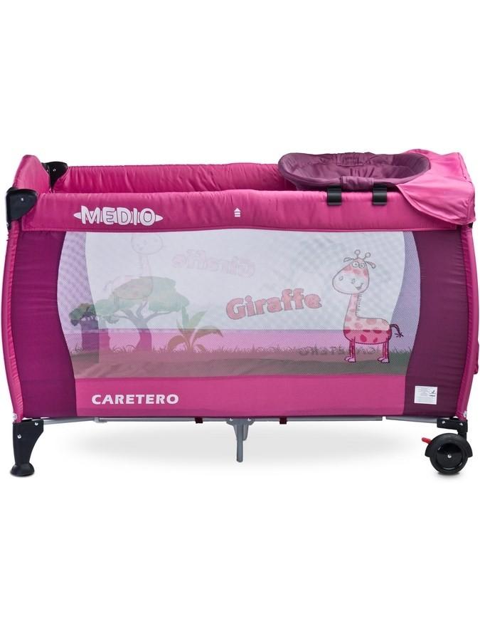 Cestovná postieľka CARETERO Medio purple ružová