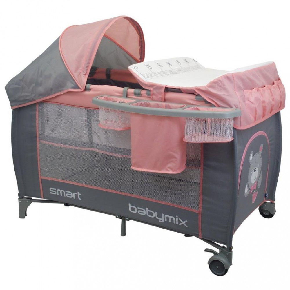 Detská cestovná postieľka s polohovaním Baby Mix De Lux Pink ružová