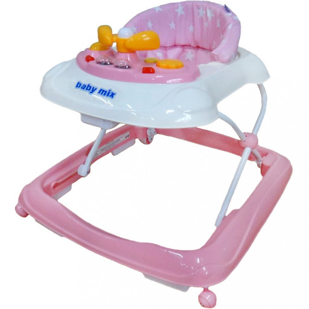 Detské chodítko Baby Mix s volantom pink ružová