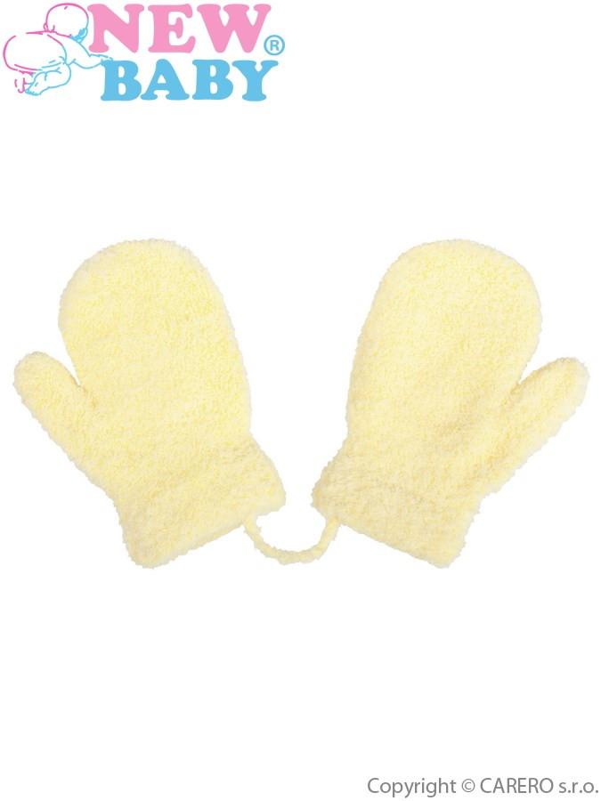 Detské zimné rukavičky New Baby so šnúrkou svetlo žlté