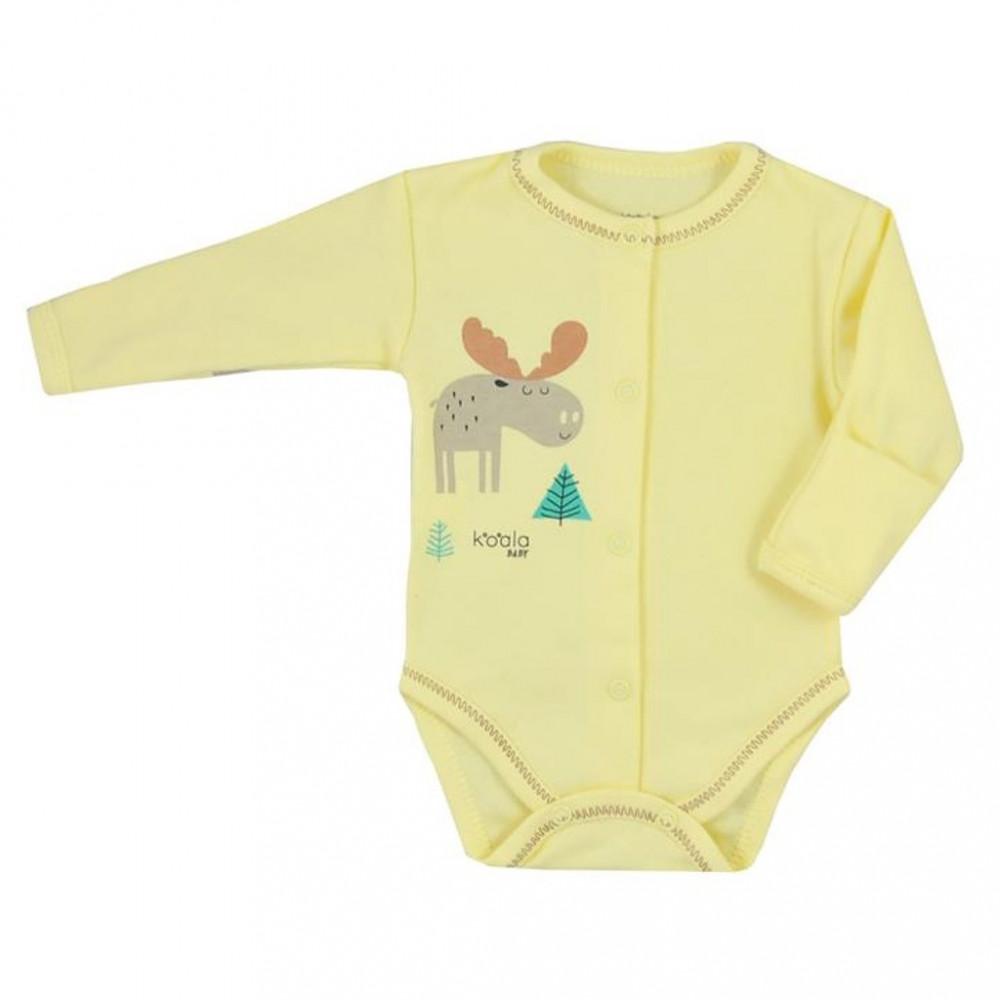 Dojčenské body celorozopínacie Koala Happy Baby žlté