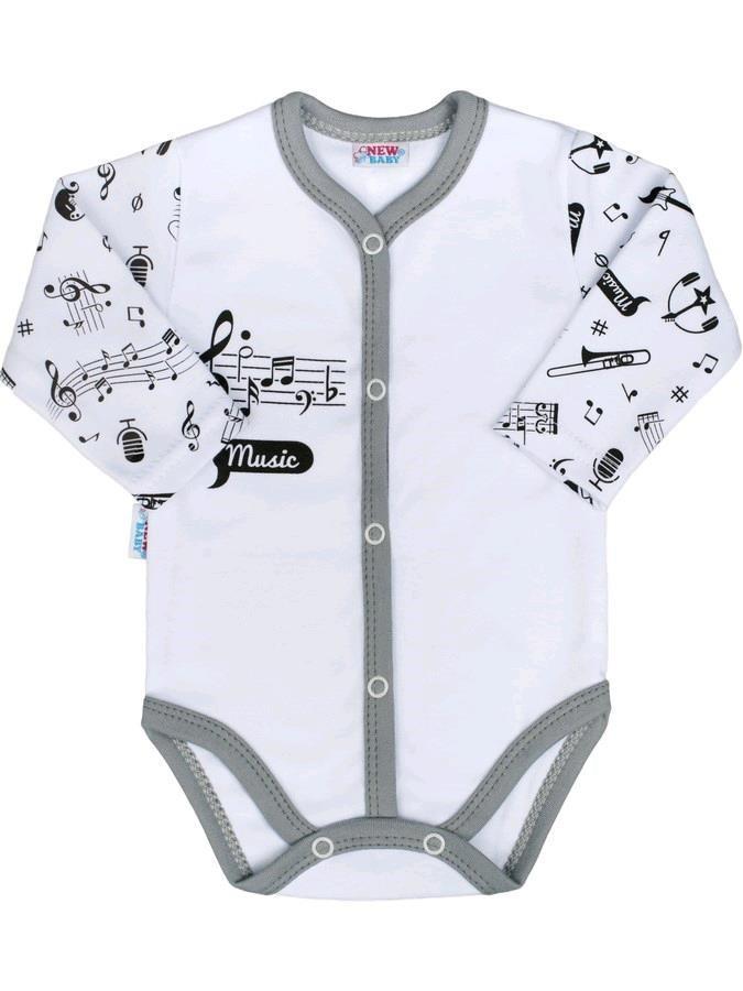 Dojčenské body celorozopínacie New Baby Music biela