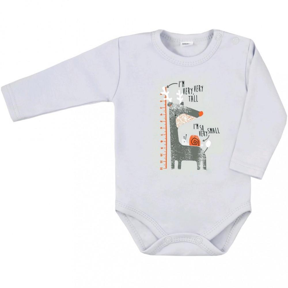 Dojčenské body s dlhým rukávom Amma sivé