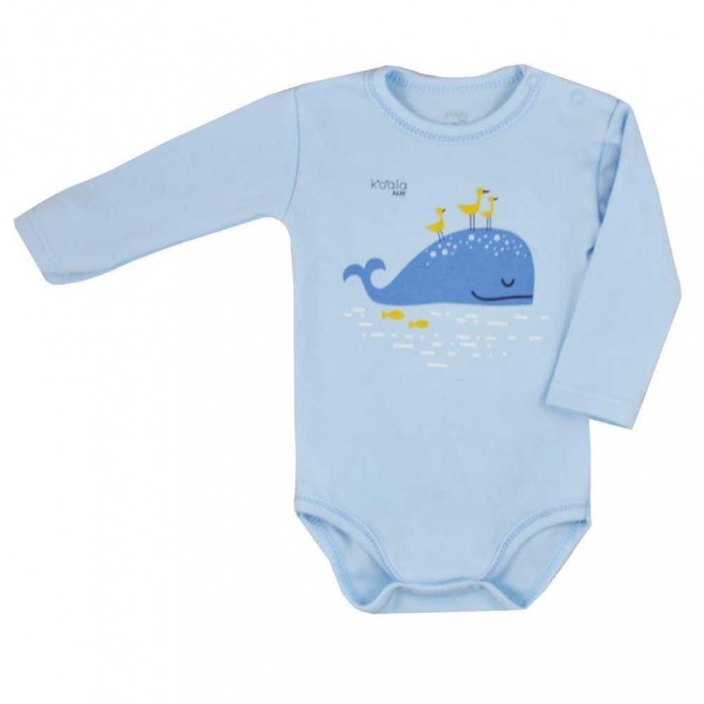 Dojčenské body s dlhým rukávom Koala Happy Baby modré