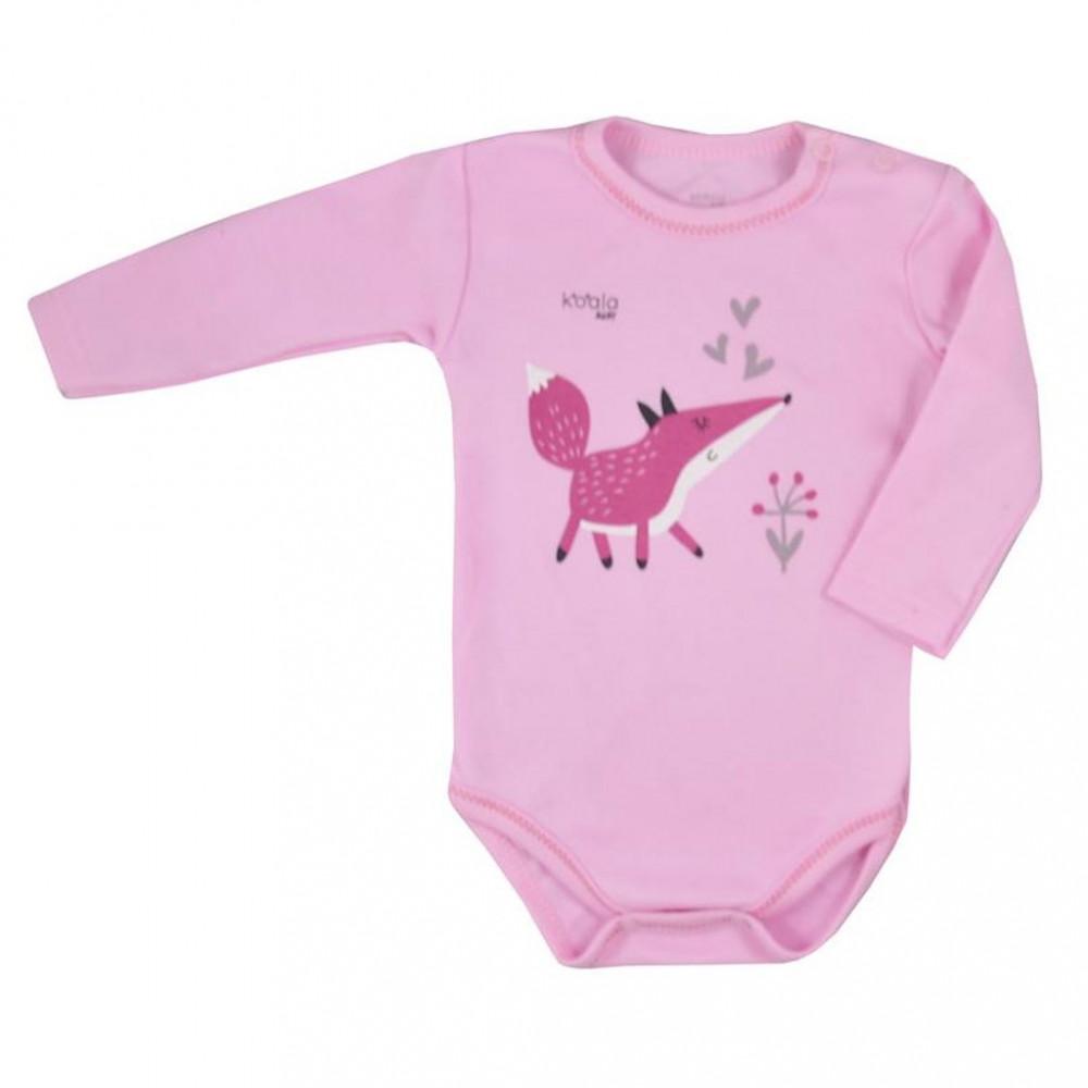 Dojčenské body s dlhým rukávom Koala Happy Baby ružové